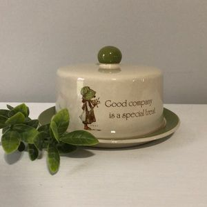 Holly Hobbie Vintage Covered Butter Cheese Dish
